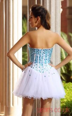 White Tulle A-line Mini Sweetheart Graduation Dress(JT2277)