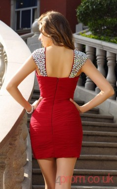 Red Chiffon Sheath Mini Straps Graduation Dress(JT2281)