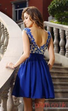 Blue Lace Chiffon A-line Mini Illusion Bateau Graduation Dress(JT2287)