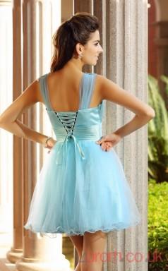Light Blue Tulle A-line Mini V-neck Graduation Dress(JT2290)