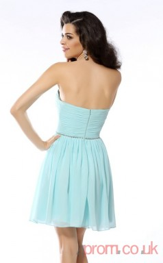Sky Blue Chiffon A-line Mini Sweetheart Graduation Dress(JT2295)