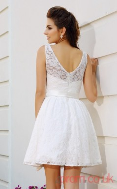 White Lace A-line Mini Bateau Graduation Dress(JT2301)