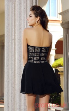 Black Chiffon Lace A-line Mini Sweetheart Graduation Dress(JT2315)