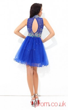 Ocean Blue Tulle A-line Mini High Neck Graduation Dress(JT2343)