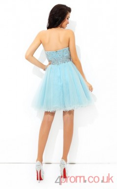 Light Blue Tulle A-line Mini High Neck Halter Graduation Dress(JT2349)