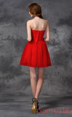 Red Tulle A-line Mini Sweetheart Graduation Dress(JT2352)