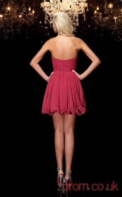 Burgundy Chiffon A-line Mini Halter Graduation Dress(JT2366)