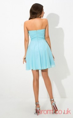 Deep Sky Blue Chiffon A-line Mini Sweetheart Graduation Dress(JT2367)