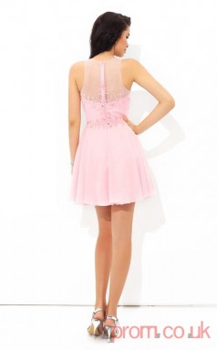 Candy Pink Chiffon A-line Mini Sweetheart Graduation Dress(JT2371)