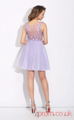 Lilac Tulle A-line Mini High Neck Halter Graduation Dress(JT2376)