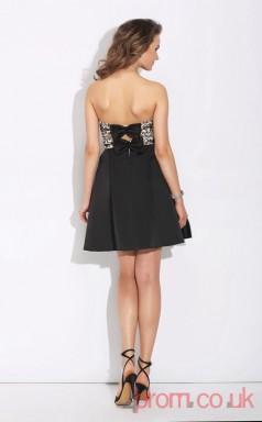 Black Lace Stretch Satin A-line Mini Sweetheart Graduation Dress(JT2386)
