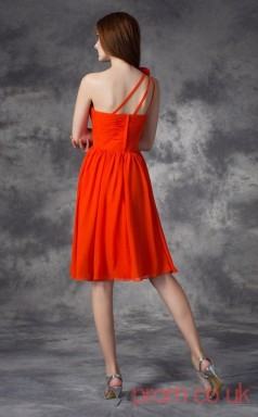 Dark Orange Chiffon A-line Mini One Shoulder Graduation Dress(JT2388)
