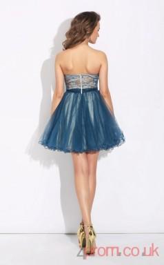 Ink Blue Tulle A-line Mini Sweetheart Graduation Dress(JT2392)