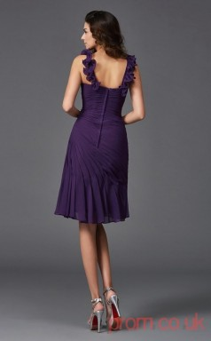 Regency Chiffon Trumpet/Mermaid Mini Straps Graduation Dress(JT2394)