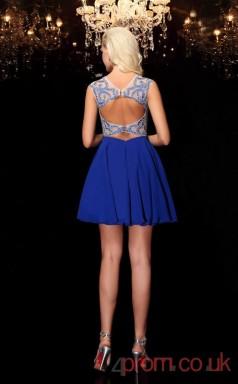 Blue Chiffon A-line Mini Illusion Short Sleeve  Graduation Dress(JT2398)
