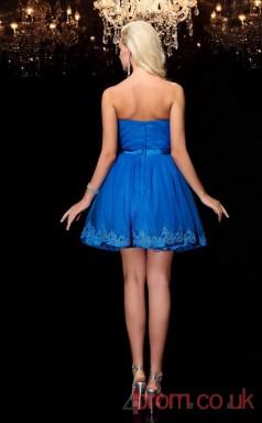 Ocean Blue Tulle A-line Mini Strapless Graduation Dress(JT2399)