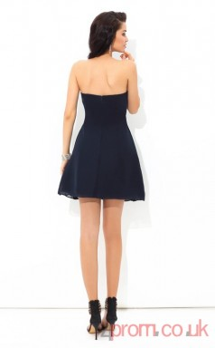 Navy Blue Chiffon A-line Mini Strapless Graduation Dress(JT2404)