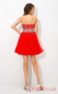 Red Tulle A-line Mini Sweetheart Graduation Dress(JT2407)