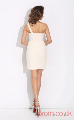 Ivory Chiffon Sheath Mini One Shoulder Graduation Dress(JT2408)