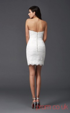 White Lace Sheath Mini Sweetheart Graduation Dress(JT2412)