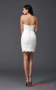 White Lace Sheath Mini Sweetheart Graduation Dress(JT2412)