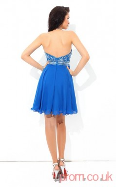 Ocean Blue Chiffon A-line Mini Halter Graduation Dress(JT2419)