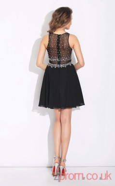Black Chiffon A-line Mini Bateau Graduation Dress(JT2423)