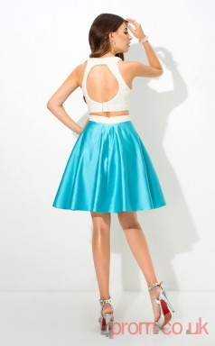 Light Turquoise Charmeuse A-line Mini HalterTwo Piece  Graduation Dress(JT2427)