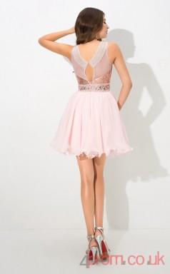 Pink Sequined Chiffon A-line Mini Illusion Graduation Dress(JT2428)
