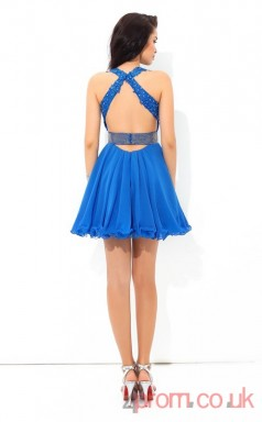 Ocean Blue Lace Chiffon A-line Mini V-neck Graduation Dress(JT2429)