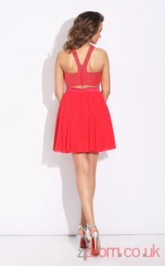 Red Chiffon A-line Mini HalterTwo Piece  Graduation Dress(JT2431)
