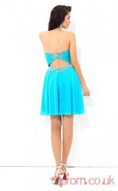 Blue Chiffon A-line Mini Sweetheart Graduation Dress(JT2437)