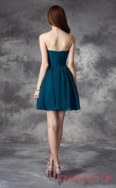 Ink Blue Chiffon A-line Mini Sweetheart Graduation Dress(JT2438)