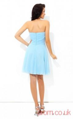 Light Blue Chiffon A-line Mini Sweetheart Graduation Dress(JT2439)