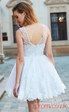 White Tulle A-line Mini Illusion Graduation Dress(JT2442)