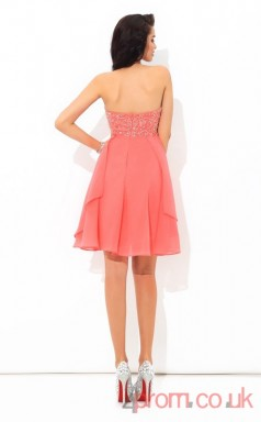 Watermelon Chiffon A-line Mini Halter Graduation Dress(JT2446)