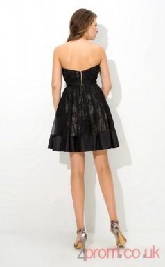 Black Lace Tulle A-line Mini Sweetheart Graduation Dress(JT2448)