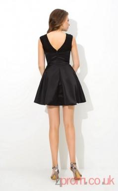 Black Satin A-line Mini Bateau Graduation Dress(JT2454)