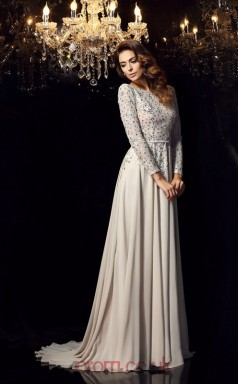 Gray Chiffon A-line Long Sleeve Bateau Sweep Train Evening Dress(JT2455)