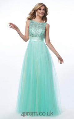 Light Blue Tulle A-line 3/4 Length Sleeve Bateau Floor-length Evening Dress(JT2458)