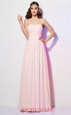 Pink Chiffon A-line Sweetheart Floor-length Formal Prom Dress(JT2459)