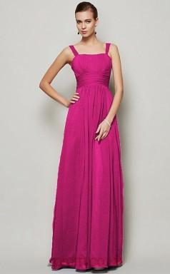 Royal Blue Chiffon A-line Straps Floor-length Formal Prom Dress(JT2462)