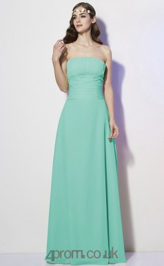 Sage Chiffon A-line Strapless Floor-length Formal Prom Dress(JT2463)