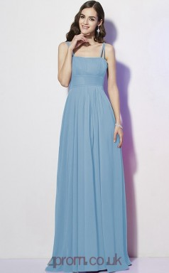 Purple Chiffon A-line Straps Floor-length Formal Prom Dress(JT2464)