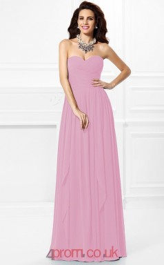 Ink Blue Chiffon A-line Sweetheart Floor-length Formal Prom Dress(JT2465)