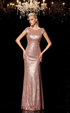 Pink Sequined Trumpet/Mermaid Short Sleeve Scoop Floor-length Formal Prom Dress(JT2466)