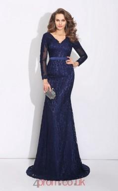 Navy Blue Lace Trumpet/Mermaid Long Sleeve V-neck Floor-length Evening Dress(JT2467)