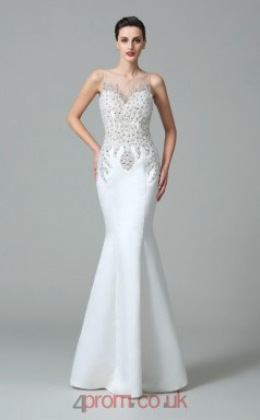 White Satin Trumpet/Mermaid Bateau Floor-length Evening Dress(JT2470)
