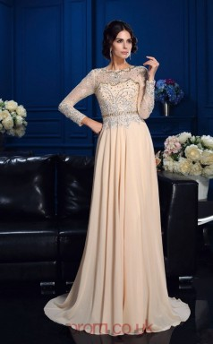 Two Piece Champagne Chiffon A-line Long Sleeve Bateau Floor-length Evening Dress(JT2475)
