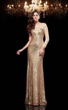 Champagne Sequined Trumpet/Mermaid Long Sleeve Illusion Floor-length Formal Prom Dress(JT2482)
